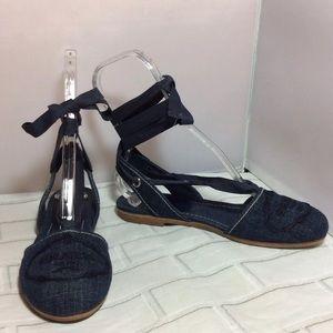 Auth Prada Ribbon Tie Flats Blue Denim Fit 7.5 EUC